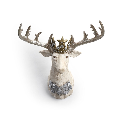 embellished stag head wall decor