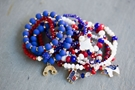 2 Each of 12 Styles 24 Bracelets with Red, White, Blue & Coordinating Beads
