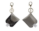 Grey & Brown Leopard with Grey Leather Hand Sanitizer Holder Keychain