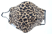 Leopard 100% Cotton Face Mask, Elastic Ear Straps