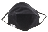Black 100% Cotton Face Mask, Elastic Ear Straps