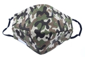 Camo 100% Cotton Face Mask, Elastic Ear Straps