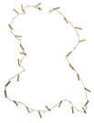 "30"" Matte Gold Chain with Rectangle & Clear Rhinestone Fringe Mask Necklace"