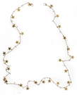 "30"" Matte Gold Chain with Star and Clear Rhinestone Fringe Mask Necklace"