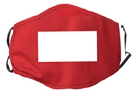 Red with Clear Window Face Mask, Adjustable Elastic Ear Straps