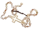 Gold Cross Neutral Cream Beaded Wrap Bracelet + Button Closure 24""
