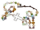 Silver Cross Multi Colored Beaded Wrap Bracelet + Button Closure 24""