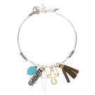 Silver Ox Bangle Charm Bracelet- Blessed