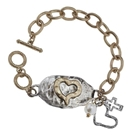 WORN GOLD/SILVER OX THEME PLATE TOGGLE BRACELET- HEART