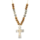 "30"" + 3"" Ext Wood/Stone Cross Necklace w/Dalmatian Jasper Stones"