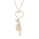 "30"" + 3"" Ext Rose & Gold Link Necklace w/Cross and Heart Dangles"