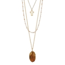 "30""+3"" Ext 3 Layer Necklace w/Peach Link and Picture Jasper Stone"