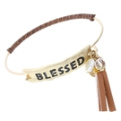 "BROWN LEATHER WRAPPED BANGLE LATCH w/TASSEL ACCENT -""BLESSED"""