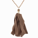 "32"" topaz linked necklace w/bronze bead & chocolate fabric tassel"