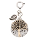 "Two tone ""tree of life"" charm w/leaf dangle"