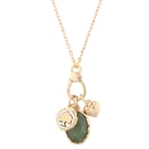 "18"" w/3"" extender charm latch necklace w/green natural stone, ""Family"""