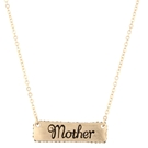 "16"" w/3"" ext gold chain necklace w/BD pave edged bar necklace ""Mother"""