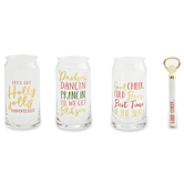 Christmas Beer Glass & Opener Sets