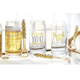 Gold & Silver Beer Glass & Opener Sets