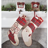 Reindeer & Santa Tartan Stockings