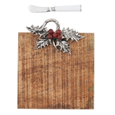 Holly Wood Cheese Board Set