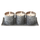 Galvanized Tin Triple Votive Set