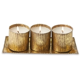 Tin Gold Triple Votive Set
