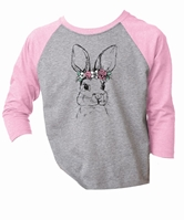Kids Bunny /w Flower Crown Lilac/Heather Grey 3/4 Sleeve Assortment