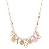 "13"" Gold Necklace /w Faceted Pink Beads & PRINCESS Charms, 1"" Ext."