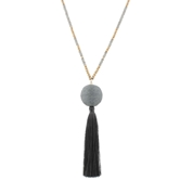 "30"" Grey & Gold Beaded with GreyThread Ball with Tassel, 3"" Ext."
