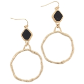 Jet Stone with Hoop Dangle Earring