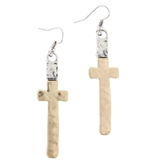 Silver Capped Gold Cross Earring