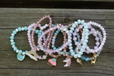 2 Each of 12 Styles 24 Bracelets with Blue and Coordinating Beads