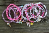 2 Each  of 12 Styles 24 Bracelets with Pink and Coordinating Beads
