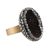 Pave Brown Druzy Adjustable Gold Ring