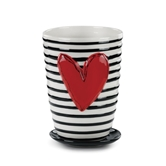 Stripes Ceramic Pot and Saucer