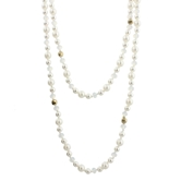 "60"" Pearl, Moonstone, Gold Handknotted Wrap"