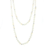 "60"" Moonstone, Clear, White Handknotted Wrap"