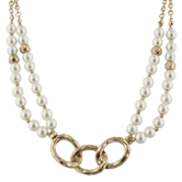"16"" 3 Gold Link with Faceted Pearl Beads, 3"" Ext."