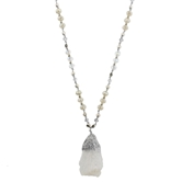 "36"" AB Clear Quartz on Handknotted Mixed Beaded Body, Silver Accents,3""Ext."
