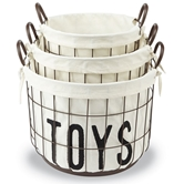 Wire & Canvas Toy Basket Set