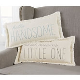 Frayed Washed Canvas Boy Nursery Pillows