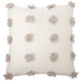 Gray Pom-Pom Pillow