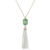 "32"" White Beaded Tassel with Mint Rhinestone, 3"" Ext."