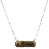 "16"" ""Love Always"" Gold Pave Bar with Silver Chain Necklace, 3"" Ext."