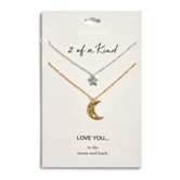 Star/Moon Necklace Set - Love You