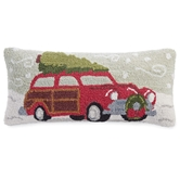 Holiday Vintage Wagon Hooked Pillow