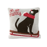 Oh So Merry Dog Hooked Pillow