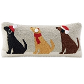 Triple Dog Holiday Hooked Pillow