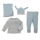 Blue & Gray Striped Boxed Gift Set